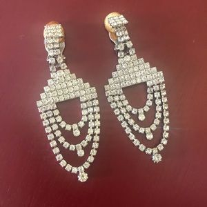 Vintage Jewelry - Vintage deco rhinestone chandelier earrings